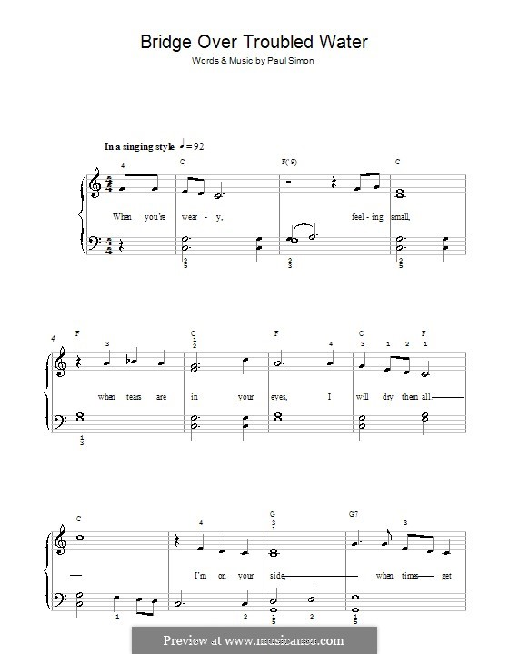 Bridge Over Troubled Water, for Piano: Versão Facil by Paul Simon