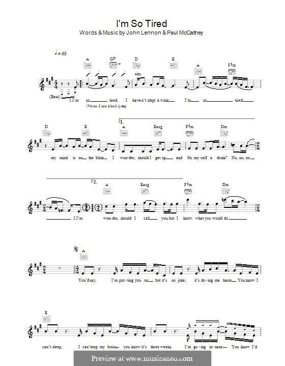 I'm So Tired (The Beatles): melodía,letras e acordes by John Lennon, Paul McCartney