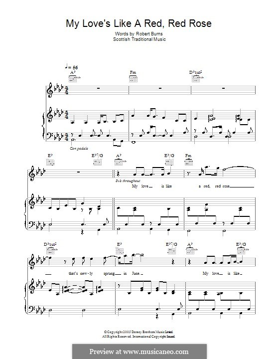 My Love is Like a Red, Red Rose: Para vocais e piano (ou Guitarra) by folklore