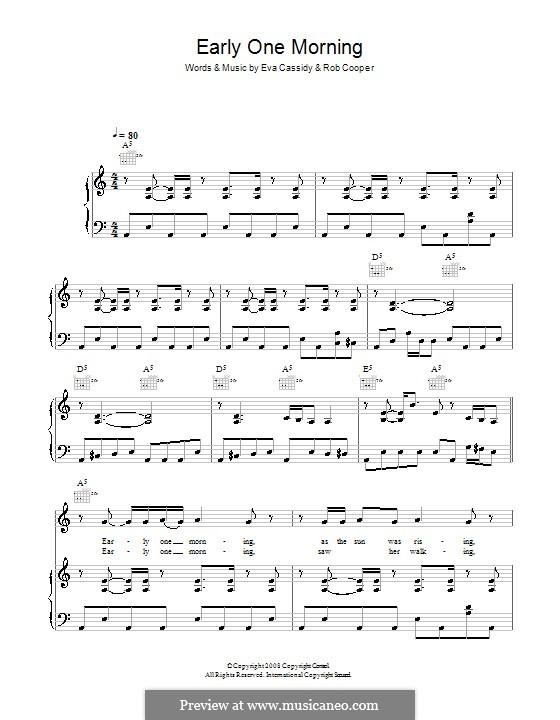Early One Morning (Eva Cassidy): Para vocais e piano (ou Guitarra) by Rob Cooper
