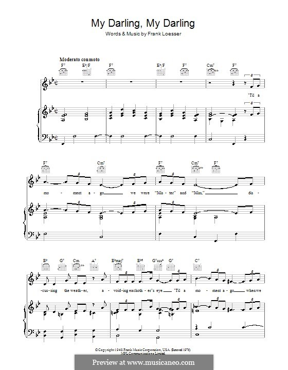 My Darling, My Darling (from Where's Charley?): Para vocais e piano (ou Guitarra) by Frank Loesser