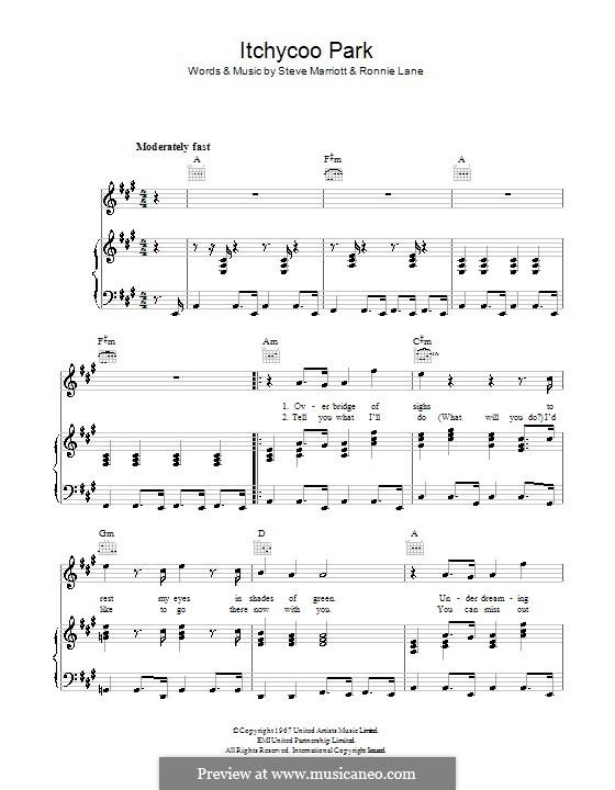 Itchycoo Park (The Small Faces): Para vocais e piano (ou Guitarra) by Ronnie Lane, Steve Marriott