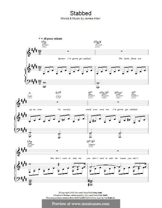 Stabbed (Glasvegas): Para vocais e piano (ou Guitarra) by James Allan
