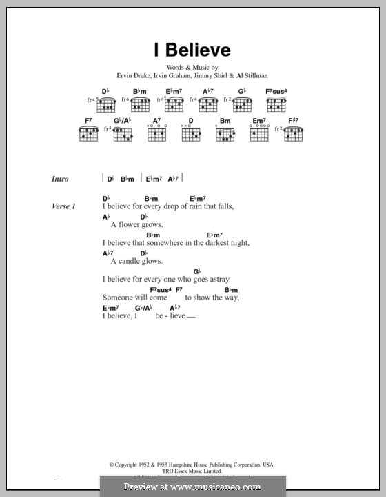 I Believe (Frankie Laine): Letras e Acordes by Ervin Drake, Irvin Graham, Jimmy Shirl