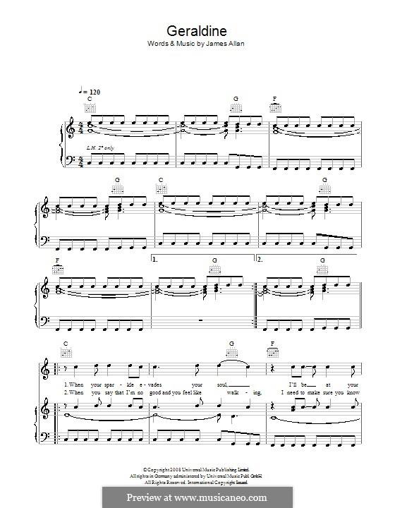 Geraldine (Glasvegas): Para vocais e piano (ou Guitarra) by James Allan
