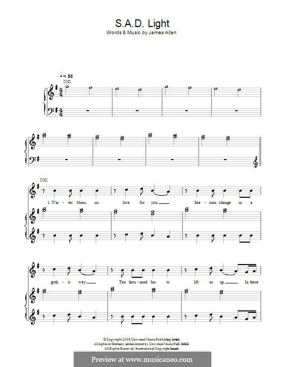 SAD Light (Glasvegas): Para vocais e piano (ou Guitarra) by James Allan