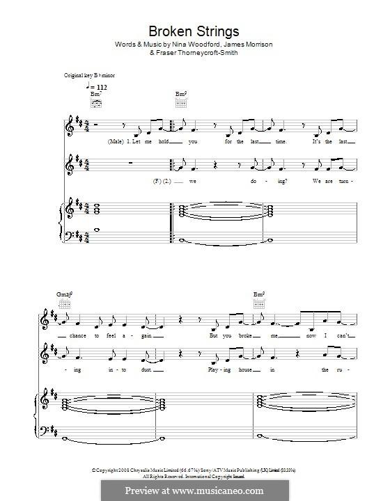 Broken Strings (James Morrison feat. Nelly Furtado): Para vocais e piano (ou Guitarra) by Fraser T. Smith, James Morrison, Nina Woodford