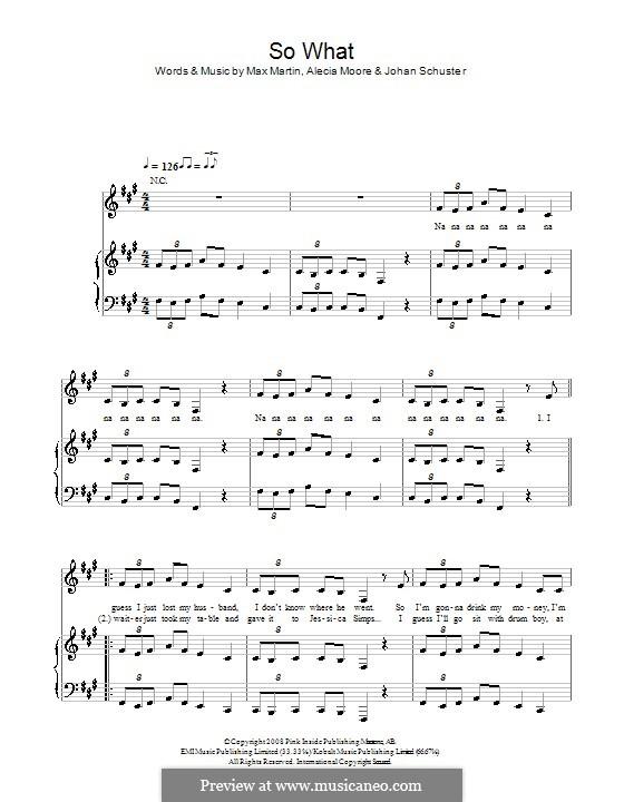 So What (Pink): Para vocais e piano (ou Guitarra) by Shellback, Alecia Moore, Max Martin
