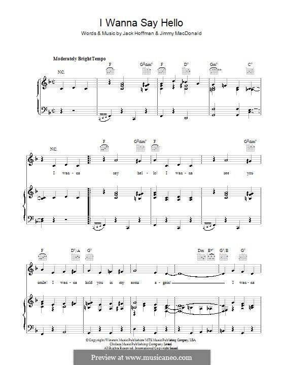 I Wanna Say Hello (The Four Knights): Para vocais e piano (ou Guitarra) by Jimmy MacDonald