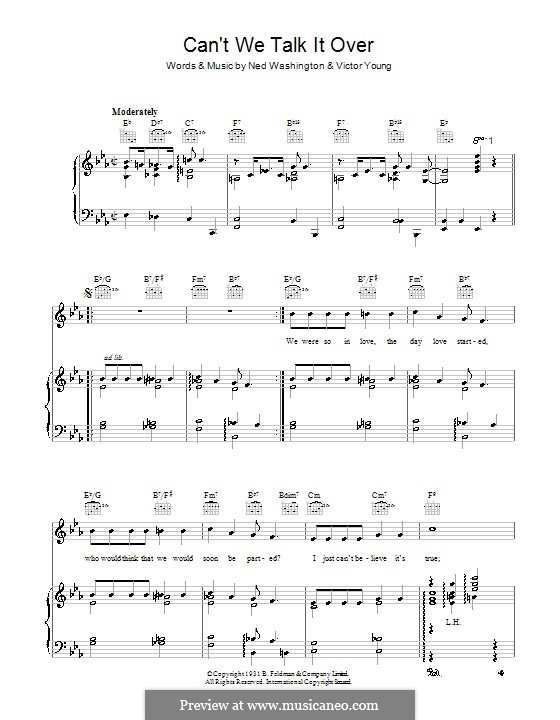 Can't We Talk It Over: Para vocais e piano (ou Guitarra) by Victor Young