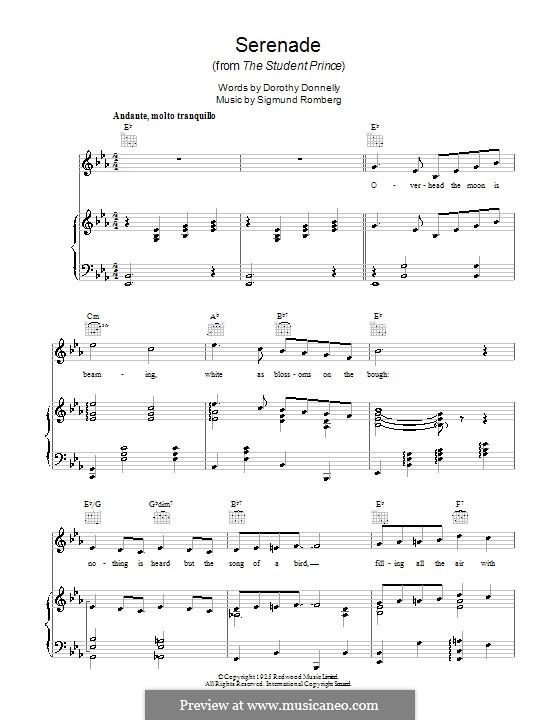 Serenade (from The Student Prince): Para vocais e piano (ou Guitarra) by Sigmund Romberg