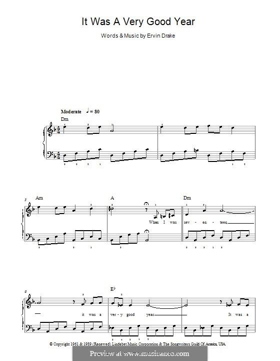 It Was a Very Good Year (Frank Sinatra): Facil para o piano by Ervin Drake