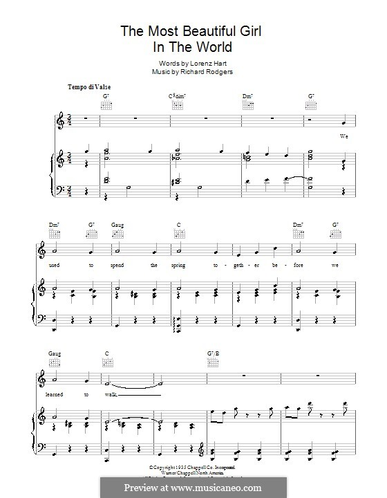 The Most Beautiful Girl in the World: Para vocais e piano (ou Guitarra) by Richard Rodgers