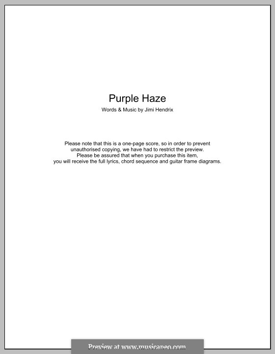 Purple Haze: Letras e Acordes by Jimi Hendrix