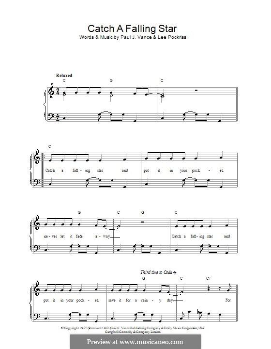 Catch a Falling Star (Perry Como): Para vocais e piano by Lee Pockriss, Paul J. Vance