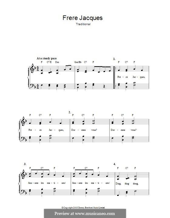 Frere Jacques (Are You Sleeping?): Para vocais e piano by folklore