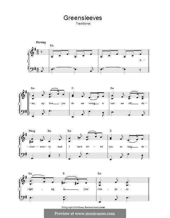 Greensleeves (Printable scores): Para vocais e piano by folklore