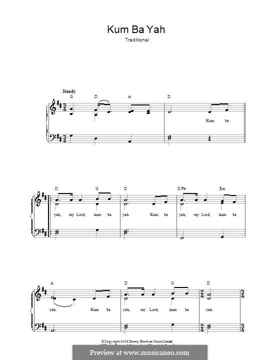 Kumbaya (Kum Ba Yah): Para vocais e piano by folklore