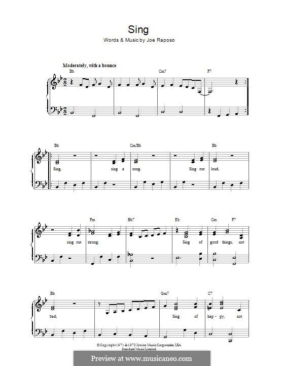 Sing (The Carpenters): Para vocais e piano by Joe Raposo