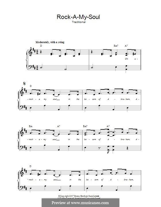 Rock-A-My-Soul: Para vocais e piano by folklore
