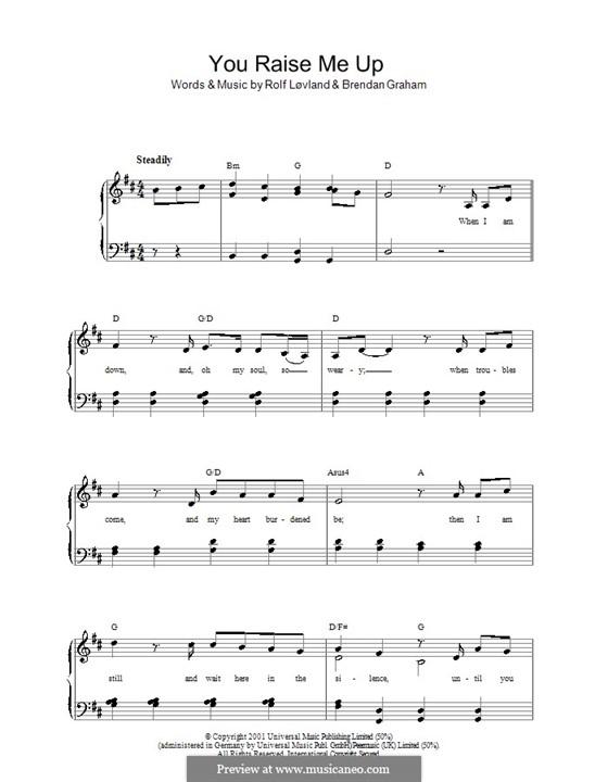 You Raise Me Up: Para vocais e piano by Brendan Graham, Rolf Løvland
