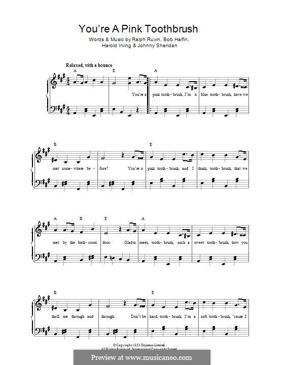 You're a Pink Toothbrush: Para vocais e piano by Bob Halfin, Harold Irving, Johnny Sheridan, Ralph Ruvin