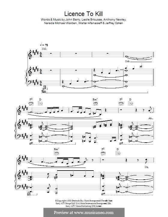 Licence to Kill (Gladys Knight): Para vocais e piano (ou Guitarra) by Anthony Newley, Jeffrey Cohen, John Barry, Leslie Bricusse, Narada Michael Walden, Walter Afanasieff