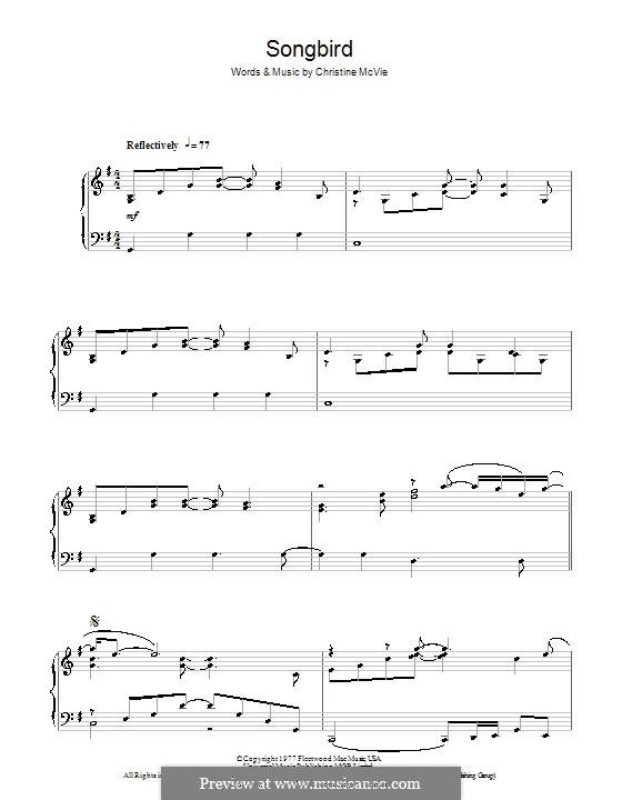 Songbird (Fleetwood Mac): Para Piano by Christine McVie