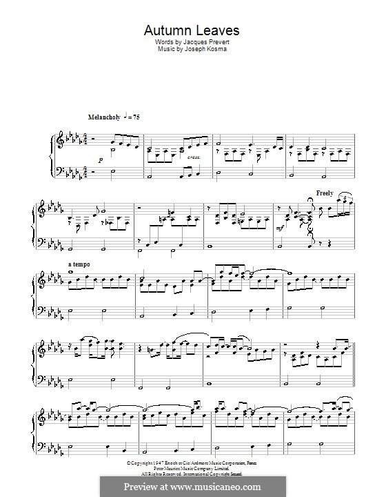 Autumn Leaves: Para Piano by Joseph Kosma