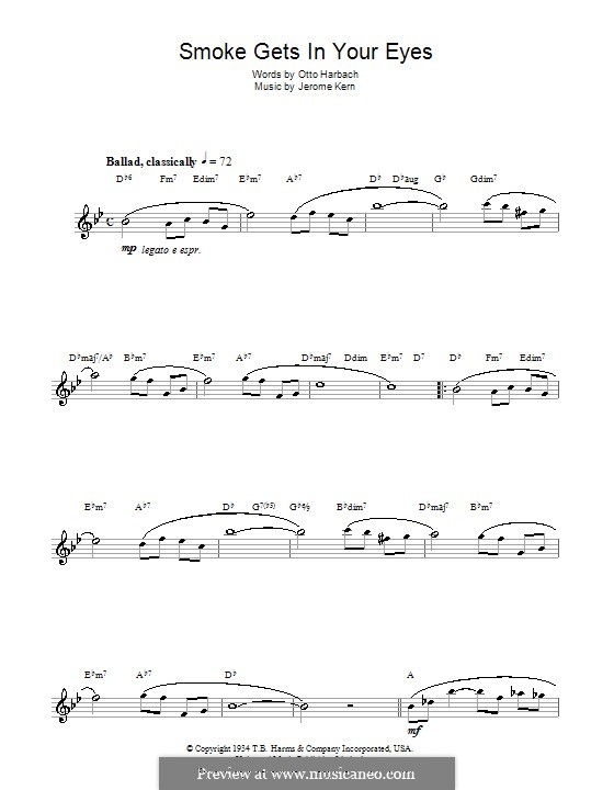 Smoke Gets in Your Eyes (from 'Roberta'): para saxofone by Jerome Kern