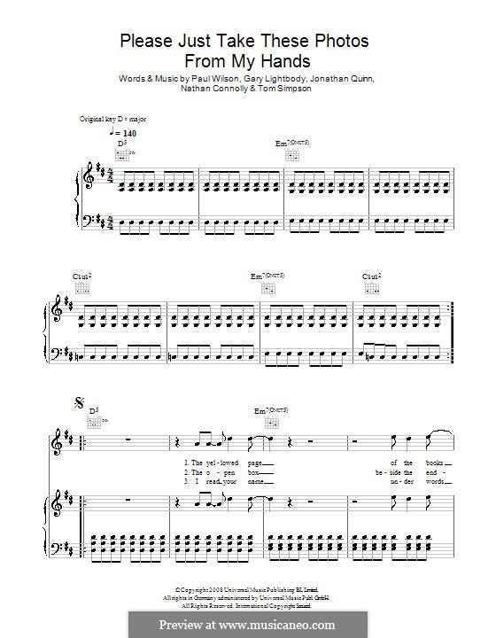 Please Just Take These Photos from My Hands (Snow Patrol): Para vocais e piano (ou Guitarra) by Gary Lightbody, Jonathan Quinn, Nathan Connolly, Paul Wilson, Tom Simpson