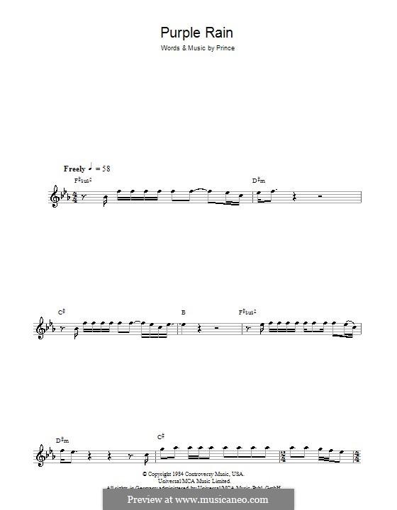 Purple Rain: para saxofone by Prince