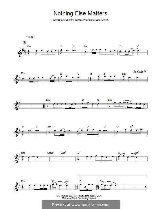 Nothing Else Matters (Metallica): para flauta by James Hetfield, Lars Ulrich