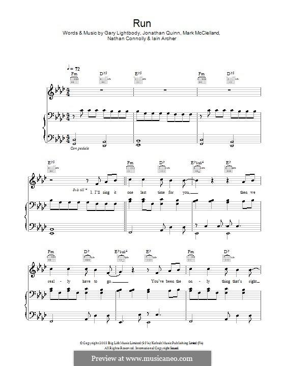 Run: para vozes e piano ou guitarra (Leona Lewis) by Gary Lightbody, Iain Archer, Jonathan Quinn, Mark McClelland, Nathan Connolly
