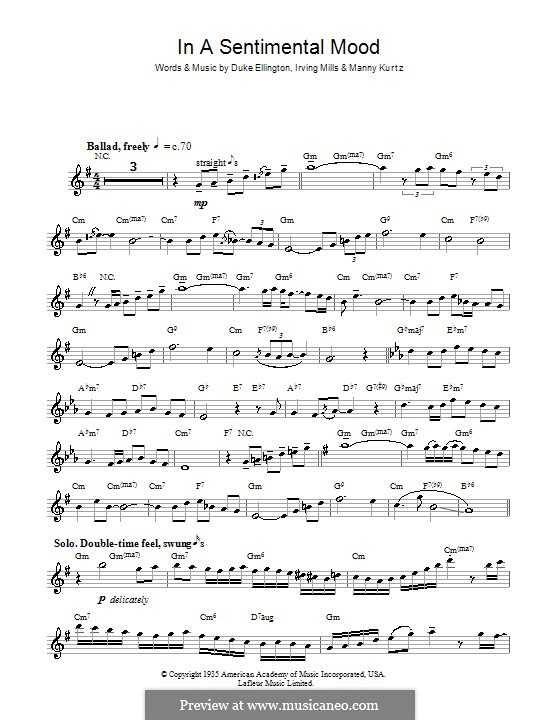 In a Sentimental Mood: para saxofone by Irving Mills, Duke Ellington, Manny Kurtz