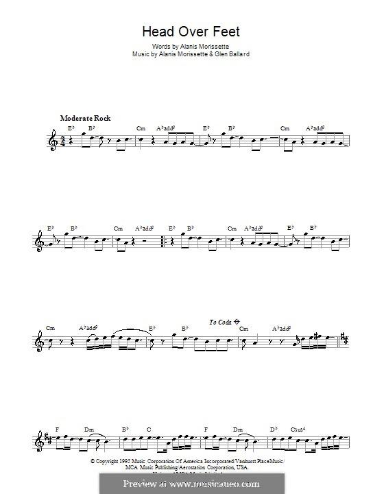 Head Over Feet: para saxofone by Alanis Morissette, Glen Ballard