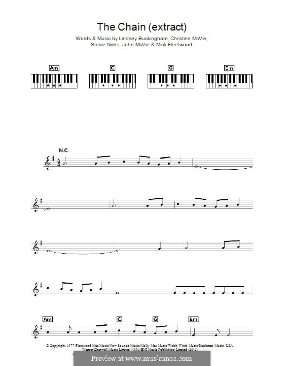 The Chain (Fleetwood Mac): para teclado by Christine McVie, John McVie, Lindsey Buckingham, Mick Fleetwood, Stevie Nicks
