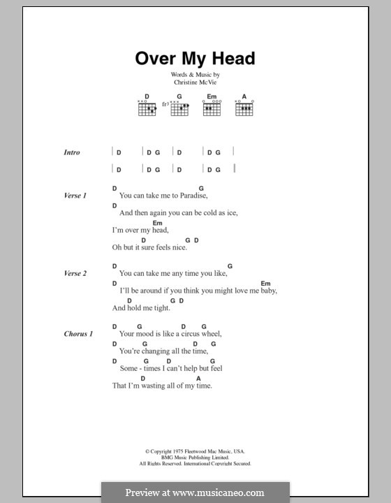 Over My Head (Fleetwood Mac): Letras e Acordes by Christine McVie