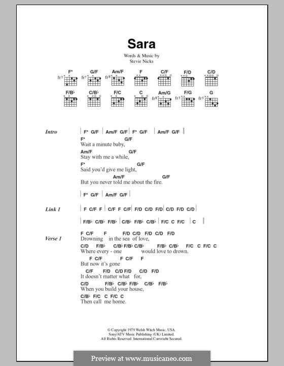 Sara (Fleetwood Mac): Letras e Acordes by Stevie Nicks