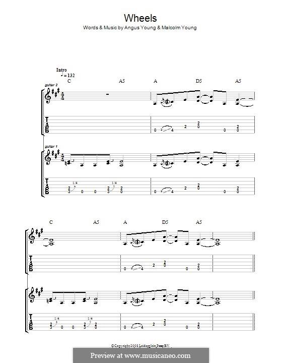 Wheels (AC/DC): Para guitarra com guia by Angus Young, Malcolm Young