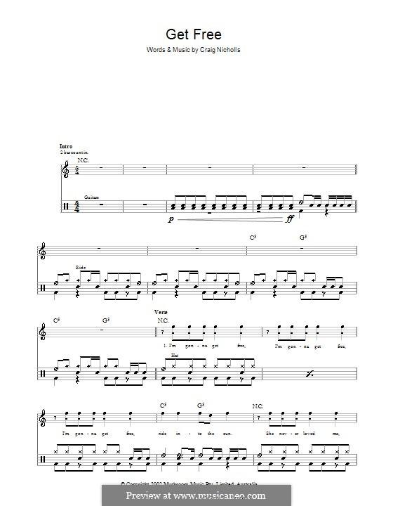 Get Free (The Vines): para bateria by Craig Nicholls