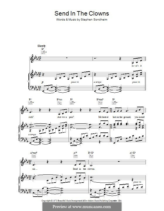 Send in the Clowns: Para vocais e piano (ou Guitarra) by Stephen Sondheim