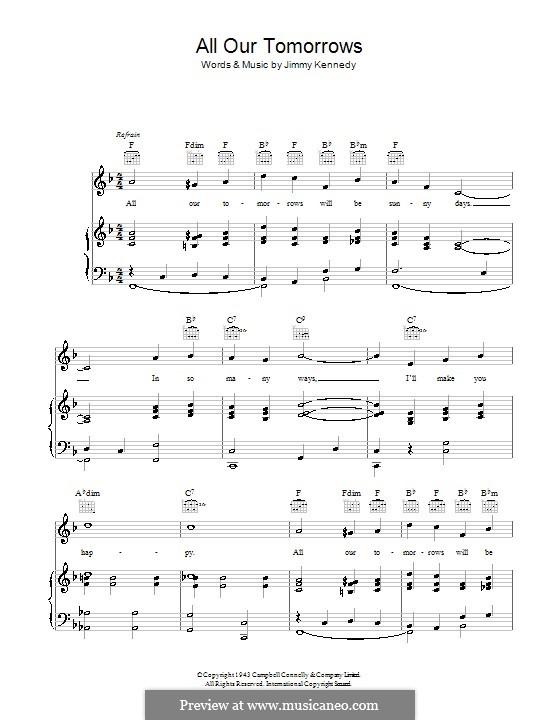 All Our Tomorrows: Para vocais e piano (ou Guitarra) by Jimmy Kennedy