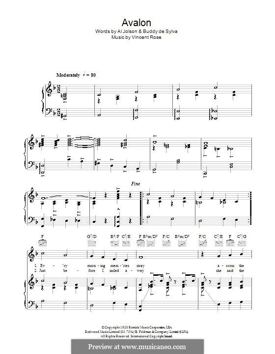 Avalon (Al Jolson): para vocais,piano ou guitarra by Vincent Rose