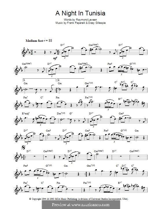 A Night in Tunisia: para flauta by Dizzy Gillespie, Frank Paparelli