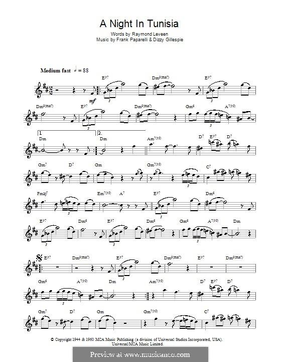 A Night in Tunisia: para saxofone by Dizzy Gillespie, Frank Paparelli