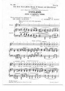 England: Partitura Piano-vocal by Charles Hubert Hastings Parry