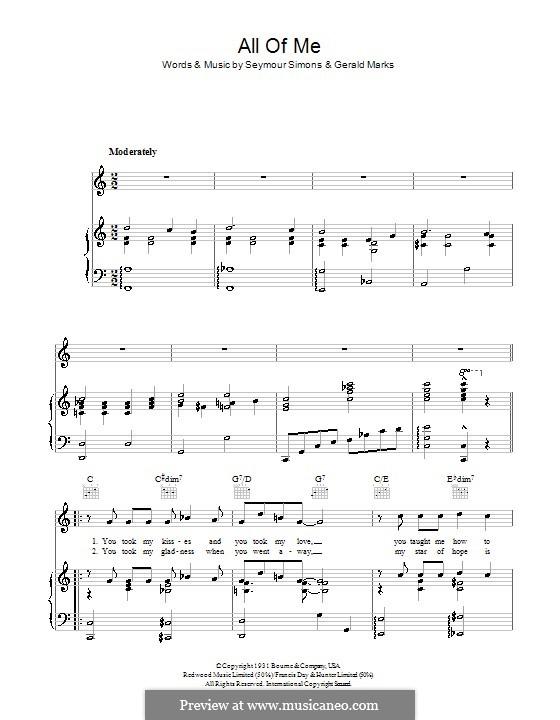 All of Me: Para vocais e piano (ou Guitarra) by Seymour Simons, Gerald Marks