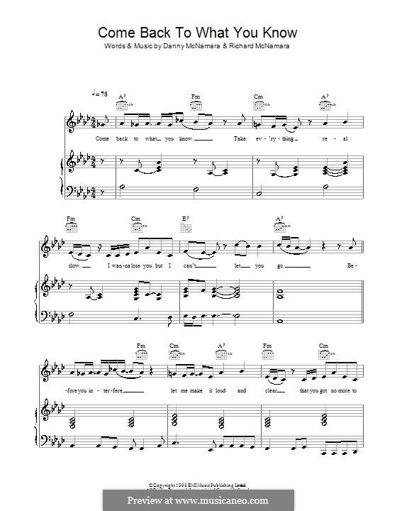 Come Back To What You Know (Embrace): Para vocais e piano (ou Guitarra) by Danny McNamara, Richard McNamara