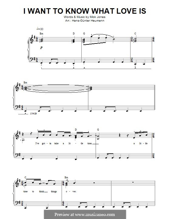 I Want to Know What Love Is (Foreigner): Para vocais e piano by Mick Jones
